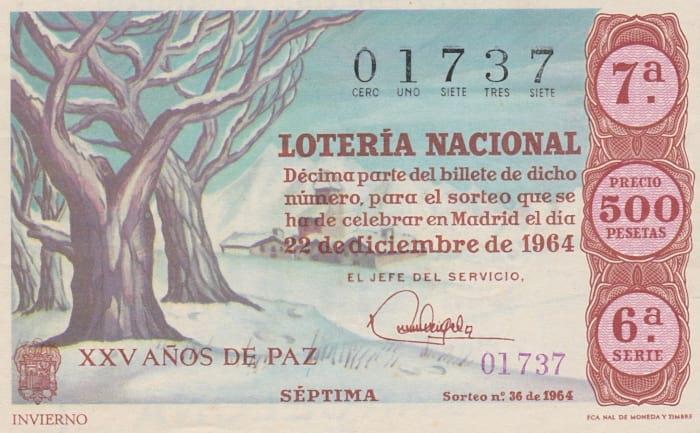 Décimo de lotería de navidad de 1964
